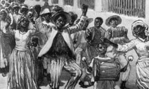 An 1833 black and white drawing of African-British people celebrating  emancipation in the streets of Barbados. While adults dance and parade, a young boy in the foreground beats a drum.