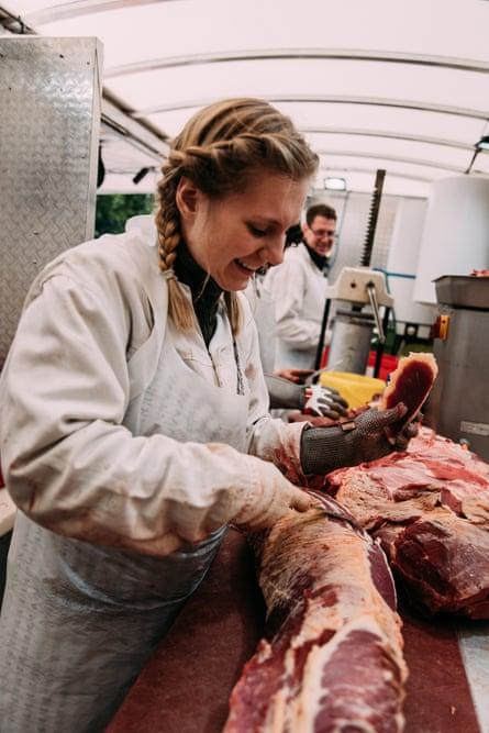 Kurten's team butchering meat