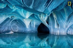 Caves under a glacier