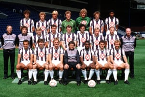 West Brom's squad for the 1985-86 season pose for a team photograph with their anti-smoking symbols.