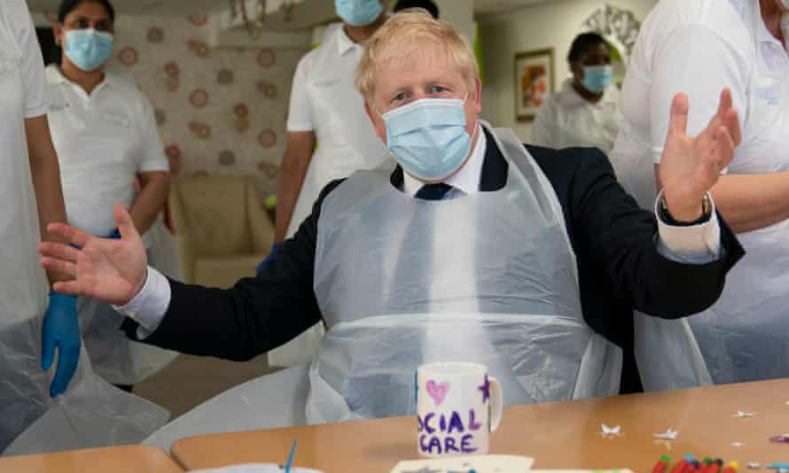 Boris Johnson visits an East London care home, 7 September