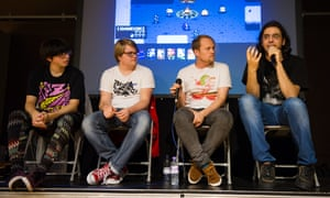 Rami Ismail with fellow developers of Nuclear Throne at GameCity in Nottingham, 2015.