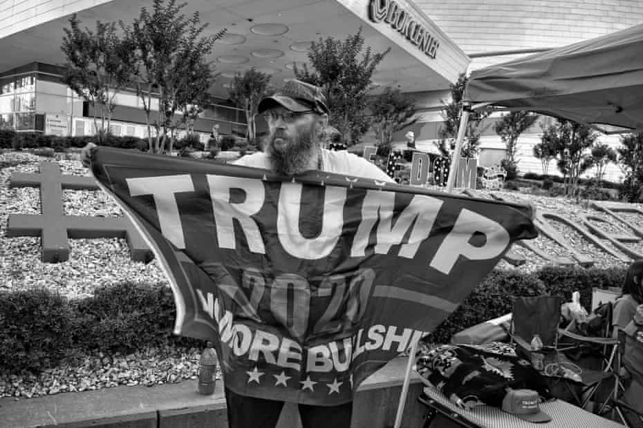 June 17, 2020. Tulsa, OK. A Marine veteran and Trump supporter, camped out in front of the Bok Center in Downtown Tulsa three days before the Trump Pence Rally on June 20, 2020
