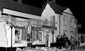 The aftermath of an IRA bomb attack at the Horse and Groom pub in Guildford, Surrey, in which four soldiers and a civilian were killed.