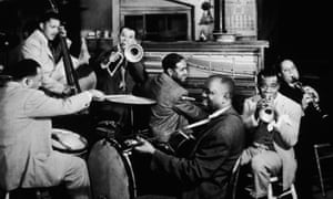 New Orleans 1947: American jazz musician Louis Armstrong with his band, All Stars, perform in a still from director Arthur Lubin's musical film, 'New Orleans'.