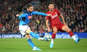 Dries Mertens thumps the ball home to give Napoli the lead.