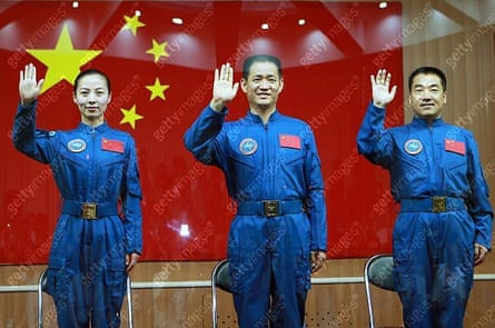 Chinese astronauts of the Shenzhou-10 manned spacecraft mission Wang Yaping, Nie Haisheng and Zhang Xiaoguang