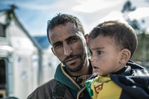 Omar (not his real name) and his two-year-old son, who have fled fighting in the city of Hasaka, Syria