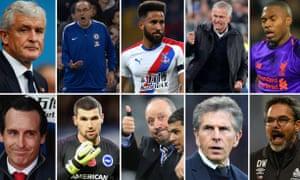 Clockwise from left: Mark Hughes, Maurizio Sarri , Andros Townsend, Jose Mourinho, Daniel Sturridge, David Wagner, Claude Puel, Rafael Benitez, Matt Ryan and Unai Emery.
