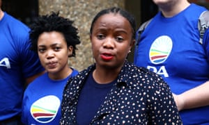 Phumzile Van Damme of the Democratic Alliance National speaks outside the Bell Pottinger offices in London on 18 August 18.