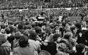Victorious Barbarians scrum-half Gareth Edwards is chaired off at the end of the 1973 match.