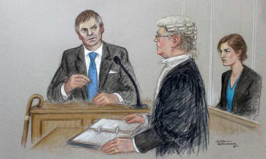 A court artist's drawing of Archers character Rob Titchener giving evidence in court, as his wife, Helen, listens.