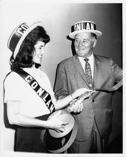 Frances campaigning for Arizona senate candidate John Conlan, 1964, Phoenix.
