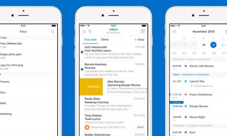Microsoft Outlook on a mobile