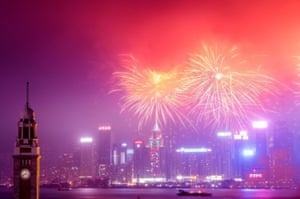 HONG KONG - JANUARY 29: Fireworks illuminate the city's skyline on January 29, 2017 in Hong Kong. The Chinese Lunar New Year also known as the Spring Festival, which is based on the Lunisolar Chinese calendar, is celebrated from the first day of the first month of the lunar year and ends with Lantern Festival on the fifteenth day.
