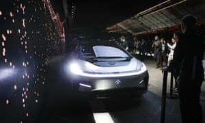 Faraday Future's FF91 electric car is unveiled during a news conference at CES International.