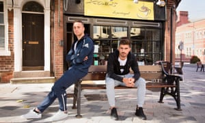 Diogo Jota, left, and Rúben Neves outside a Portuguese cafe in Wolverhampton. They joined from Atlético Madrid and Porto respectively last season.