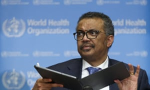 WHO chief Tedros Adhanom Ghebreyesus talks to the media in Geneva on Monday.
