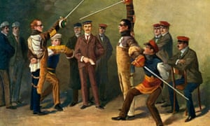 Duelling at a German student fraternity depicted in a painting from about 1900
