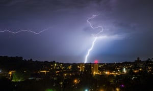 A lightning storm takes place over Guildford, UK.