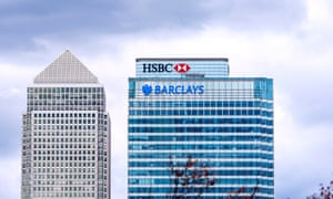 HSBC, Barclays and Canada Square towers at Canary Wharf in London