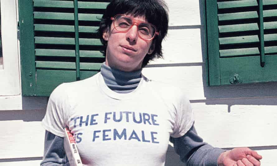 Alix Dobkin wearing the celebrated The Future Is Female T-shirt in 1975. The words have since become a world-famous slogan among feminists.
