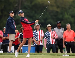 Nelly Korda of Team USA plays her shot from the fifth tee.