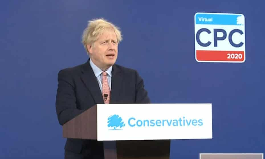 Boris Johnson delivers his address to the virtual Conservative party conference on Tuesday