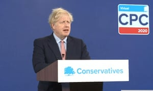 Prime Minister Boris Johnson delivers his address to the virtual Conservative party conference.