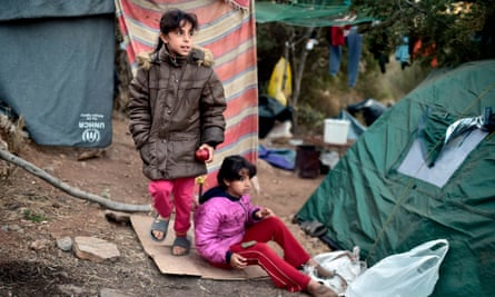 Recently arrived child refugees in a makeshift tent camp on the island of Samos.