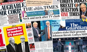 Front pages of the UK papers on Wednesday 20 November 2019 following the televised leaders' debate between Jeremy Corbyn and Boris Johnson.