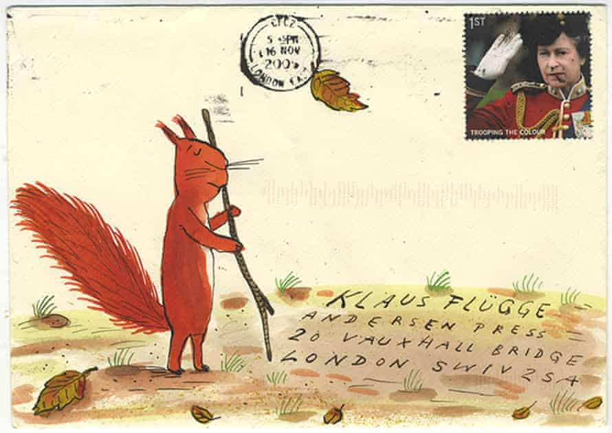 An example of one of Klaus Flugge's envelopes, this one by Axel Scheffler.