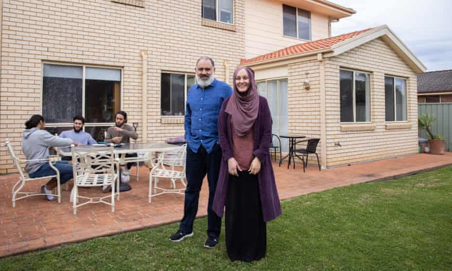 Sharon Hussein with her husband Ahmad Abdukl Galil and their sons Nooredeen, Yusuf and Amin in Sydney's west. Hussein says her some in local Muslim community will take part in virtual events this Eid to create a sense of connection during lockdown