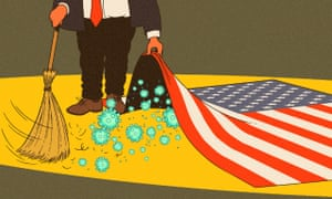 Illustration of Donald Trump sweeping coronavirus under an American flag