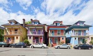 Colourful townhouses in Portland's Alphabet district.