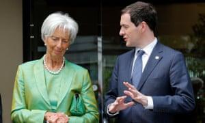 George Osborne (R) and outgoing IMF chief Christine Lagarde.