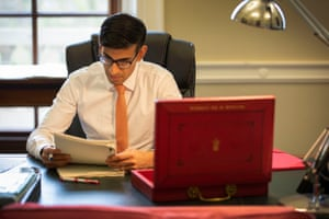 Chancellor of the Exchequer Rishi Sunak making his final preparations to his first Budget speech