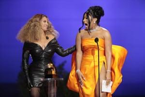 Beyoncé and Megan Thee Stallion accept the award for best rap album