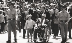 Joe Stawyskyj pictured in his wheelchair out in front of his old regiment, 5RAR, at an Anzac Day parade in Sydney.
