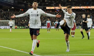 Alex Oxlade-Chamberlain celebrates scoring Liverpool's second goal in their 2-0 victory at West Ham.
