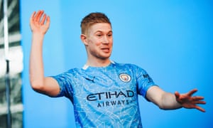 Kevin de Bruyne wears Manchester City's new 2020-21 kit
