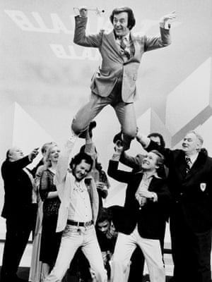 On the set of BBC TV show Blankety Blank in 1979 with Kenny Everett and David Hamilton