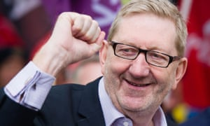 Unite's Len McCluskey with a smile and a raised fist