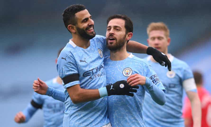 Bernardo Silva (centre) celebrates with his Manchester City teammates after scoring the first goal in a comfortable 3-0 FA Cup success against Birmingham City.