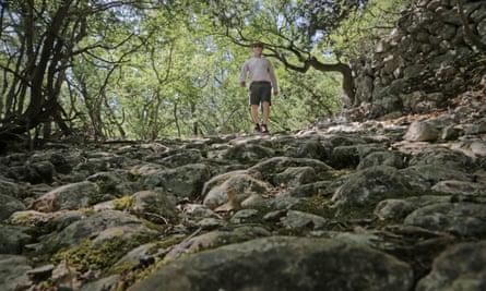 Kevin walking on the Roman road near Beli