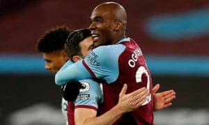 Aaron Cresswell and Angelo Ogbonna celebrate the victory over Villa that brought West Ham to fifth place.