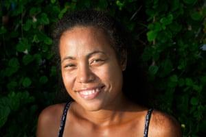 Tinaai Teava, 23, on the island of Abaiang.