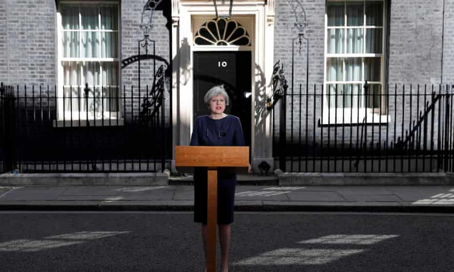 Theresa May making her announcement outside 10 Downing Street.