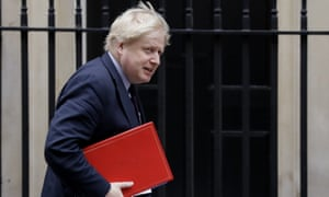 Boris Johnson arriving at Downing Street for cabinet this morning.