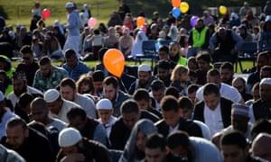 Muslim residents of the Western Sydney offer their Eid Al Adha prayer inside a Rugby ground on September 12, 2016